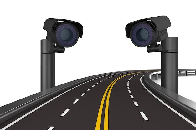 Caméras de sécurité routière. rendu 3d isolé