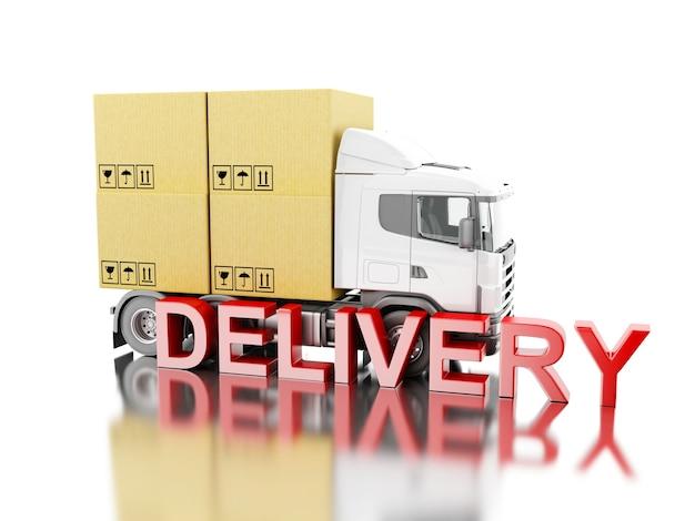 Camion 3d transportent des boîtes avec