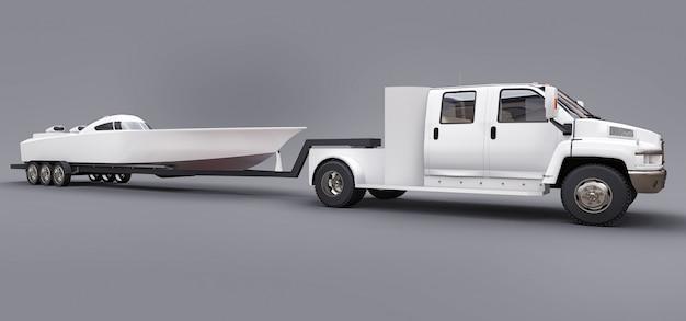 Camion blanc avec une remorque pour transporter un bateau de course sur un espace gris. rendu 3d.
