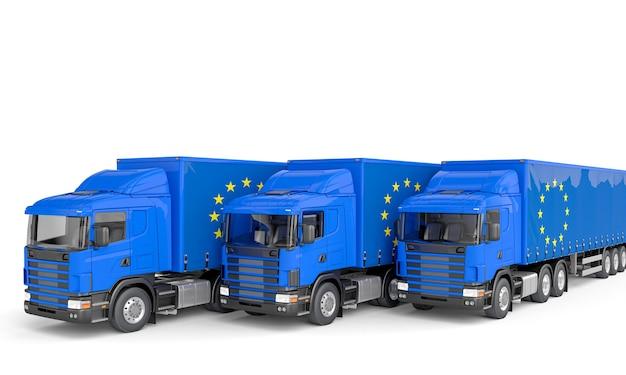 Camion avec drapeau de l'europe.