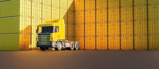 Camion jaune avec de nombreuses piles de conteneurs autour