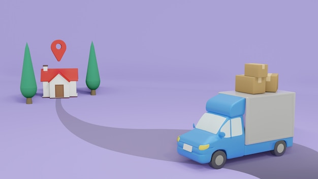Camion de livraison allant à la livraison