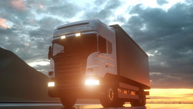 Camion de livraison blanc sur route goudronnée au coucher du soleil