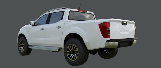 Camion de livraison de véhicule utilitaire blanc avec une cabine double
