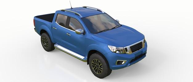 Camion de livraison de véhicule utilitaire bleu à double cabine. machine sans insigne avec un corps vide propre pour accueillir vos logos et étiquettes. rendu 3d.
