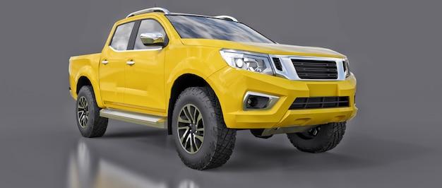 Camion de livraison de véhicule utilitaire jaune à double cabine