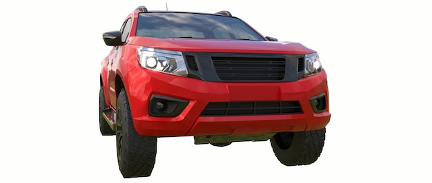 Camion de livraison de véhicule utilitaire rouge avec une cabine double