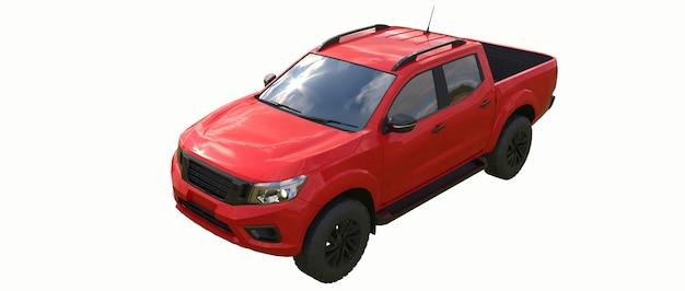 Camion de livraison de véhicule utilitaire rouge avec une double cabine. machine sans insigne avec un corps vide propre pour accueillir vos logos et étiquettes. rendu 3d.