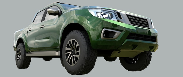 Camion de livraison de véhicule utilitaire vert avec un rendu 3d double cabine