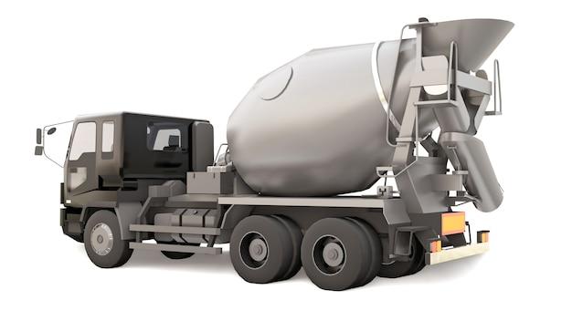 Camion malaxeur à béton avec cabine noire et malaxeur gris sur blanc