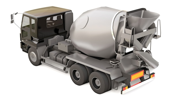 Camion malaxeur à béton avec cabine noire et malaxeur gris sur fond blanc. illustration en trois dimensions de l'équipement de construction. rendu 3d.