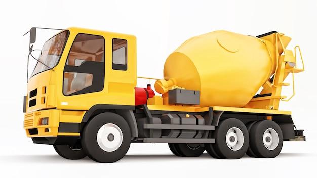 Camion malaxeur à béton orange fond blanc rendu 3d