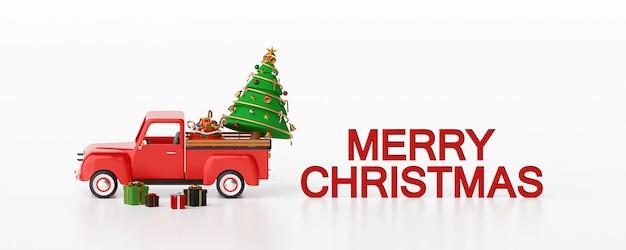 Camion de noël et cadeaux avec texte joyeux noël