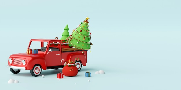 Camion de noël plein de cadeaux de noël et rendu 3d d'arbre