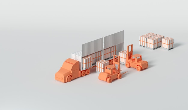 Camion porte-conteneurs 3d dans le port maritime pour le concept de logistique et de transport d'entreprise