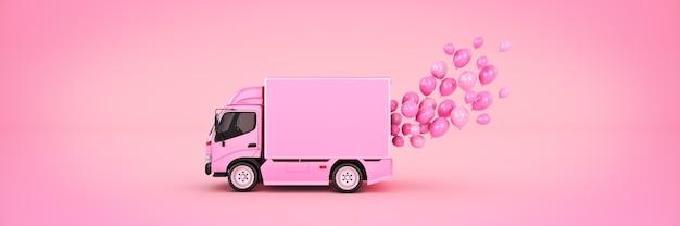 Camionnette de livraison avec des ballons rendu 3d