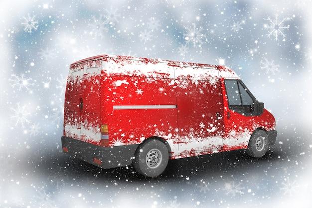 Camionnette de livraison de noël avec des flocons de neige