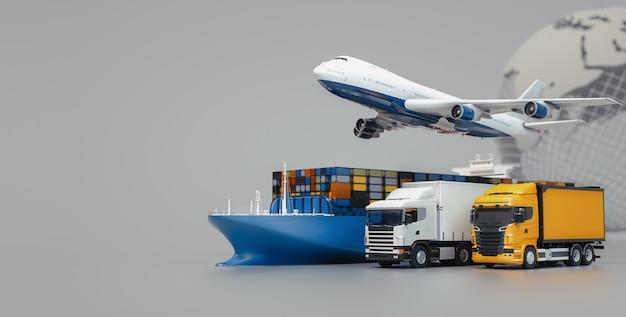 Les camions-avions volent vers la destination avec les plus brillants