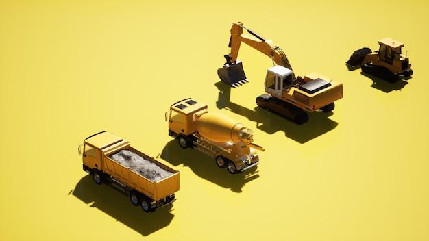 Camions de construction jaunes sur fond jaune derrière