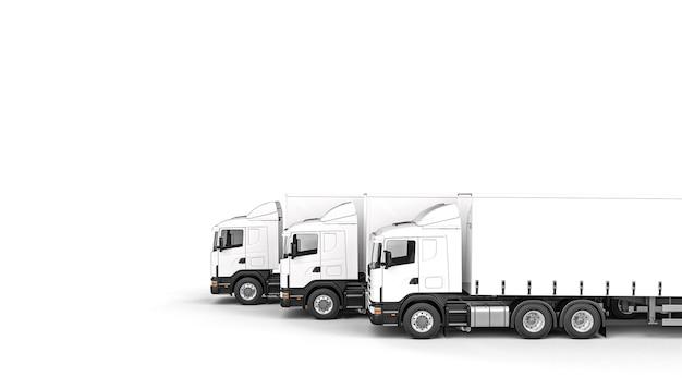 Camions de transport isolés sur blanc. rendu 3d. concept de logistique et de fret.