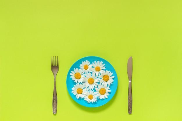 Camomille fleurie sur plaque d'immatriculation bleue, couteau à fourchette à couverts sur fond vert