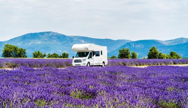 Campervan se déplaçant dans un champ de lavande en provence, france