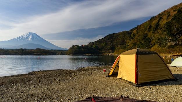 Camping au lac shoji avec mt. fuji