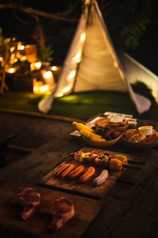 Camping avec barbecue