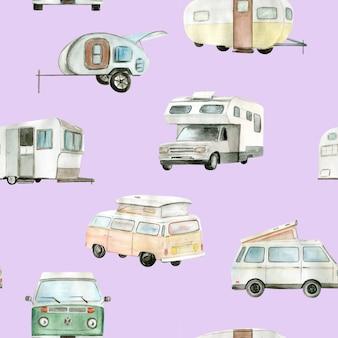 Camping-car aquarelle, modèle sans couture de voiture. illustration peinte à la main.