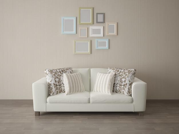 Canapé d'angle avec cadre vide sur fond de texture de tissu