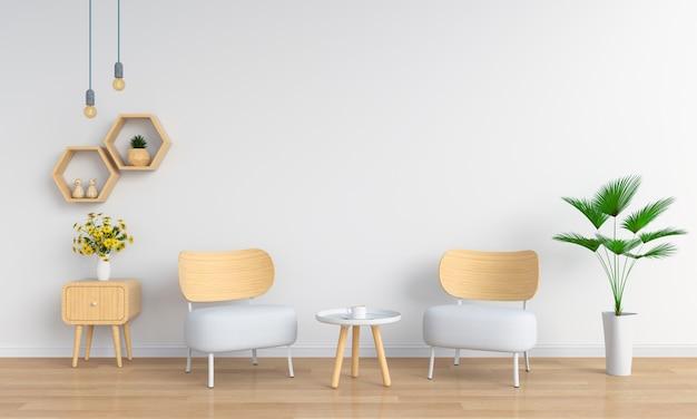 Canapé blanc dans le salon pour maquette