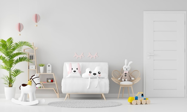 Canapé blanc à l'intérieur de la chambre d'enfant avec espace copie