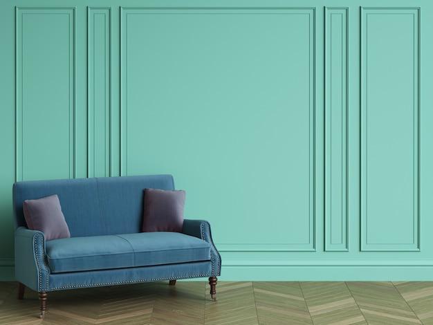 Canapé bleu avec des oreillers violets dans un intérieur classique avec espace copie. murs de couleur turquoise avec moulures. parquet au sol à chevrons. rendu 3d