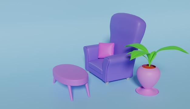 Canapé bleu rendu 3d avec pot de fleur
