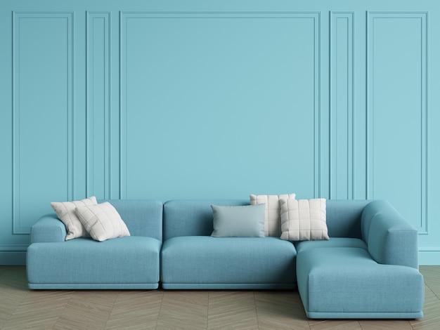 Canapé bleu scandinave designlight bleu à l'intérieur. murs bleus avec moulures, parquet à chevrons. espace copie, rendu 3d