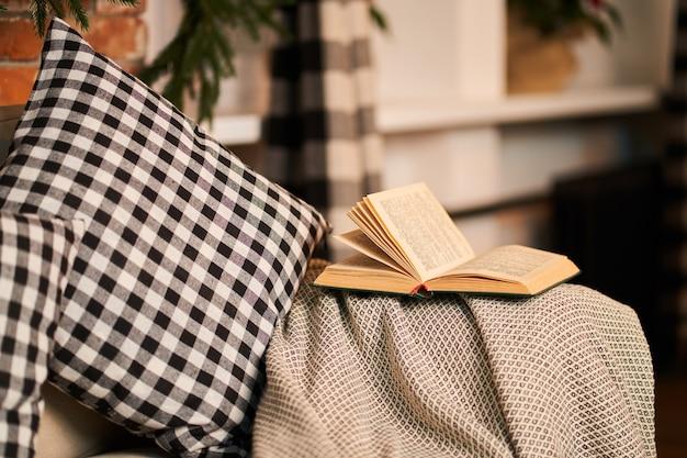 Canapé confortable préféré avec des coussins à carreaux pour lire des livres