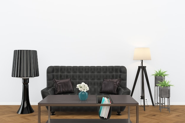 Canapé en cuir noir parquet foncé salon intérieur lampe fond loft