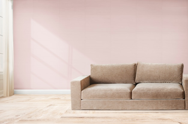 Canapé dans une chambre rose