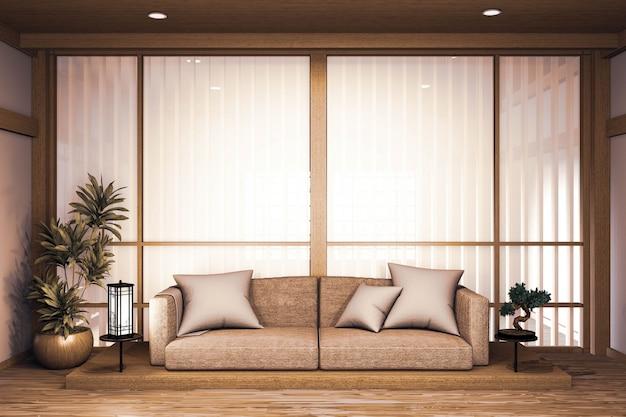 Canapé design japonais en bois, sur parquet japonais et lampe de décoration et vase de plantes rendu 3d
