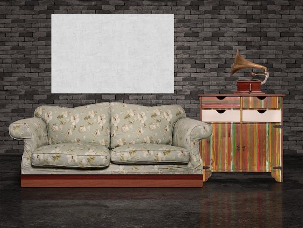 Canapé, écran et gramophone
