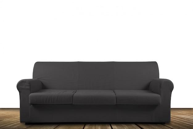 Canapé gris sur blanc