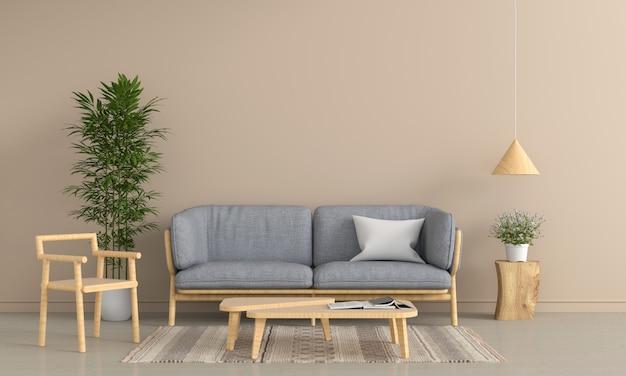 Canapé gris et chaise en bois dans le salon marron