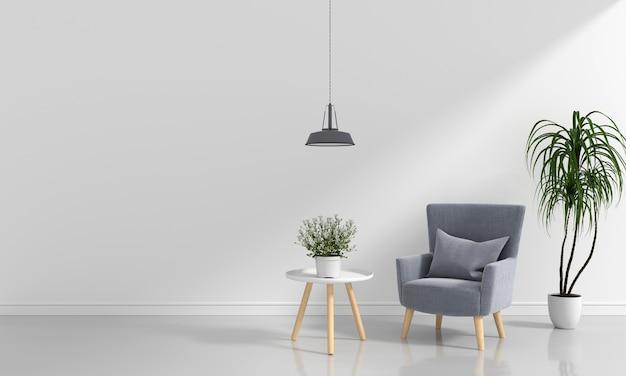 Canapé gris dans la chambre blanche
