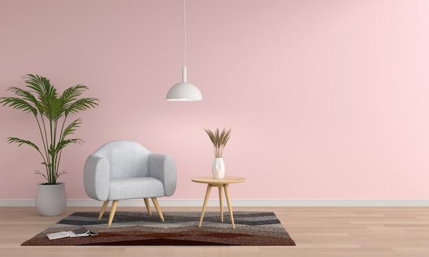 Canapé gris dans la salle de séjour rose, rendu 3d