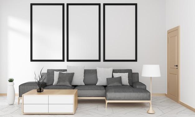 Canapé gris dans le salon pour maquette de style moderne japonais, rendu 3d