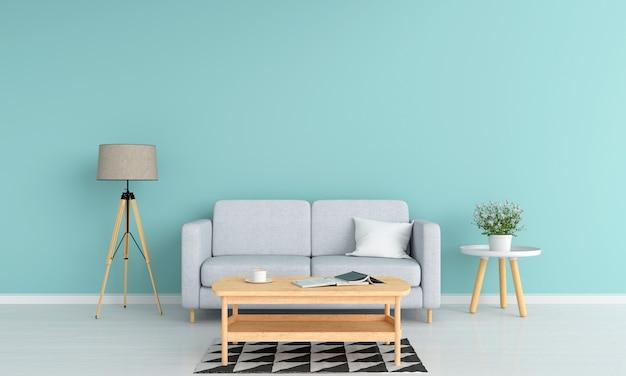 Canapé gris dans le salon pour maquette