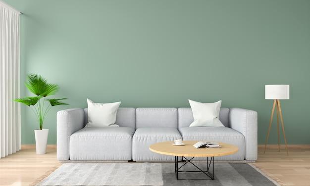 Canapé gris dans le salon vert, rendu 3d