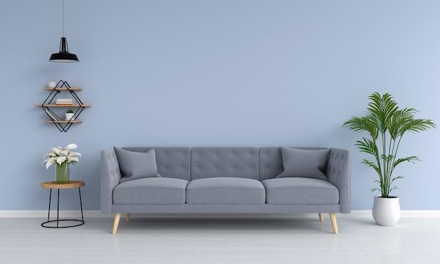 Canapé gris et rampe