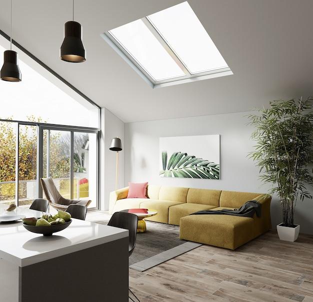 Canapé jaune, fauteuil, plantes vertes et autres décors dans la maison de design moderne, rendu 3d