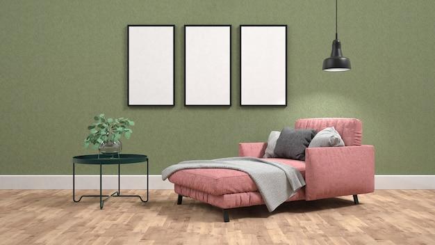 Canapé-lit rose et table basse dans le salon avec des affiches au mur